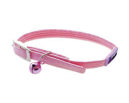 Cattitude Stretchy Nylon Cat Kitten Dog Puppy Collar adjustable - Pale Pink