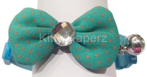 Adjustable Fabric Bow Breakaway Collar Cat Kitten Puppy Dog - Aqua