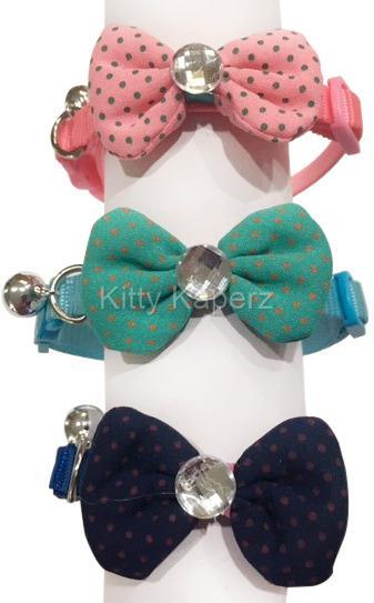 Fabric Bow Breakaway Collar for Cats Kittens Dogs Puppy Pets adjustable