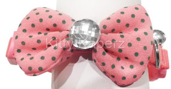 Adjustable Fabric Bow Breakaway Collar Cat Kitten Puppy Dog - Pink
