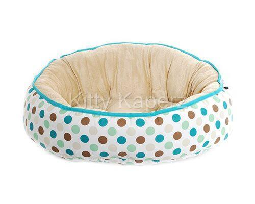 Barkley & Bella Reversible Cozy Comfy Kitty Bed - Green Spots