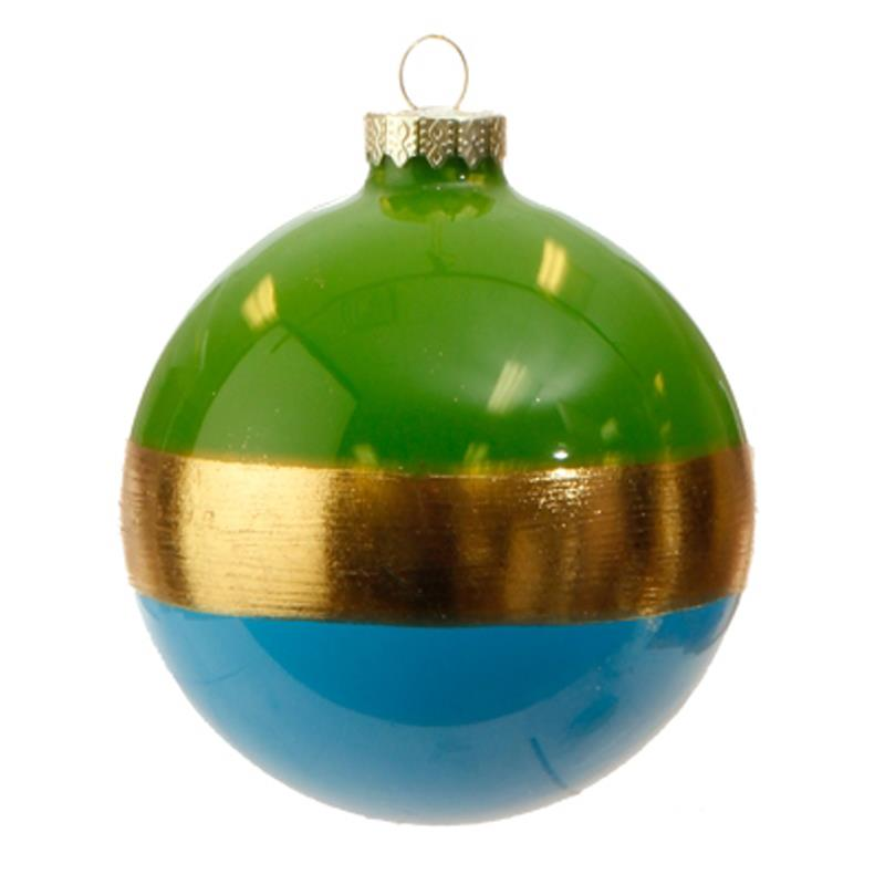 "Blue Christmas Ball Ornaments Uk: NEW Raz 4"" Blue And Gold Striped Christmas Glass Ball"