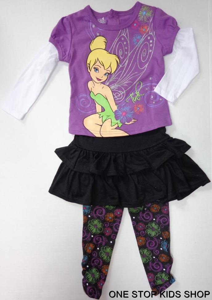 83101074139d26 TINKERBELL Toddler Girls 24 M 2T 3T 4T Set OUTFIT Shirt Pants Skort DISNEY  FAIRY in