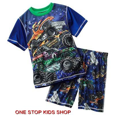 73a4ac87ae64 MONSTER JAM Boys 6 7 8 10 12 Pjs Set PAJAMAS Shirt Shorts GRAVE ...
