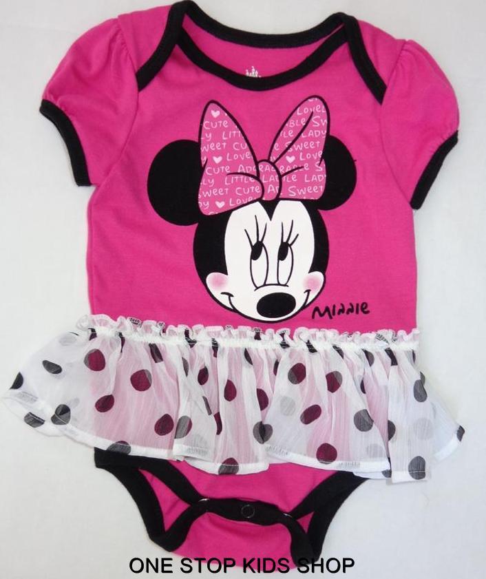 Minnie Mouse Infant Girls 0 3 6 9 Months Set Outfit Dress Bodysuit Skirt Disney