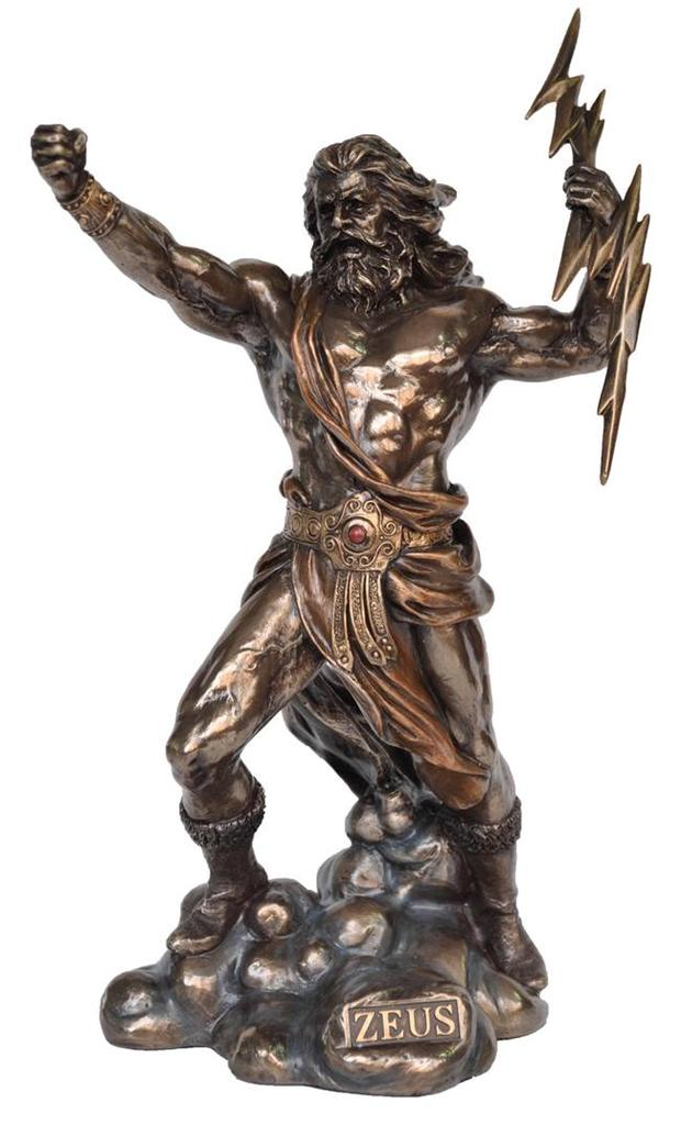 Zeus Statue Greek Mythology Poly Resin Cold Cast Bronze
