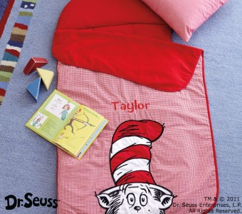 pottery barn kids new dr seuss nap mat cat in the hat red gingham sleeping bag ebay. Black Bedroom Furniture Sets. Home Design Ideas