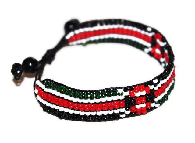Details about AFRICAN MAASAI MASAI BEADED KENYA FLAG BRACELET #01