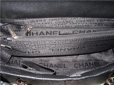 eaabe72b06f0 Authentic Black Leather Tote Handbag 10218184 /Monogramed Chanel Lining -  UNUSED | eBay