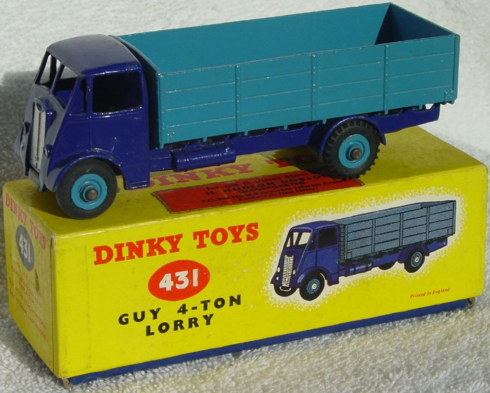 Dinky 431 - Guy 4-ton Lorry Blue/Blue 3 chips C8.5