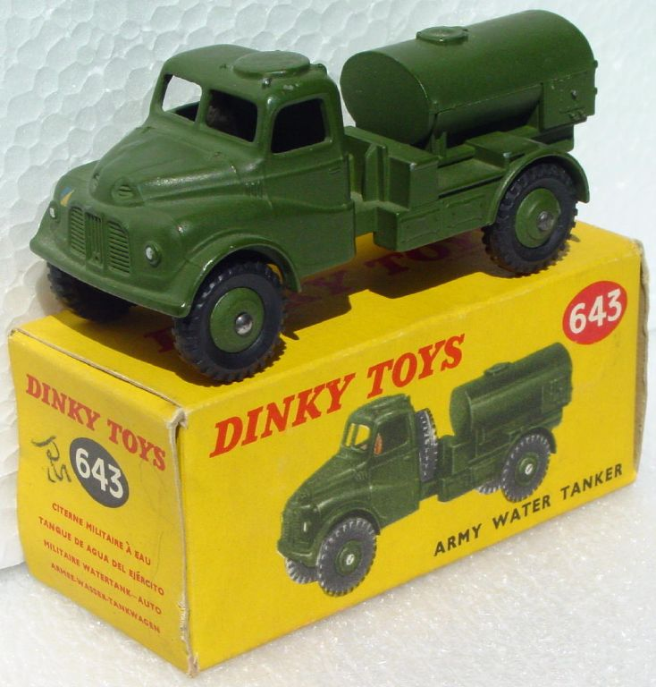Dinky 643 - Army Water Tanker with driver no window Very Near Mint C9 box