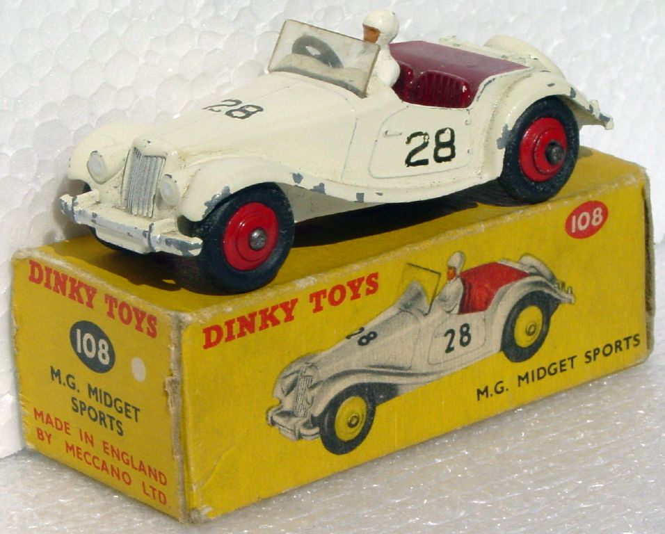 Dinky 108 - MG Midget Cream and red 28 (ENM) C8.5 box