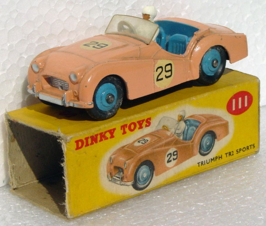 Dinky 111 - Triumph TR2 Salmon-pink 29 Very Near Mint 1 side no flaps