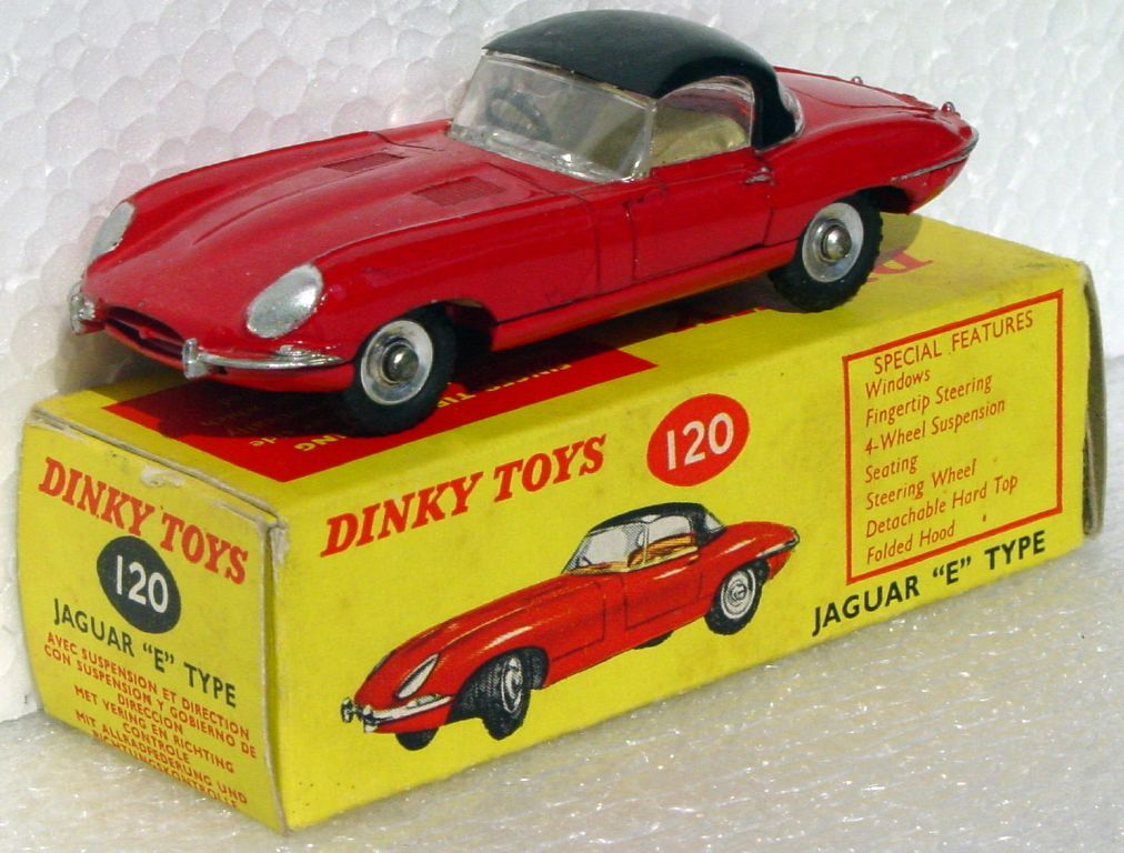 Dinky 120 - E Type Jaguar Red three slight chips C9+ box 1 loose inner flap