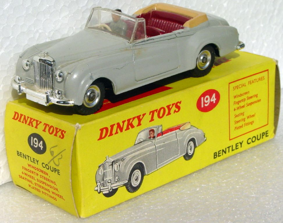Dinky 194 - Bentley Coupe Grey/Maroon three slight chips C9+ box