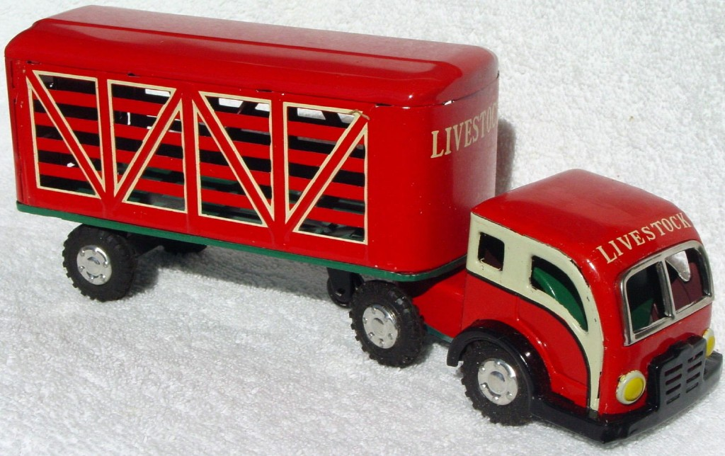 Various - YAMAICHI TIN Jap Fric Livestock Truck/Trailer Red and White