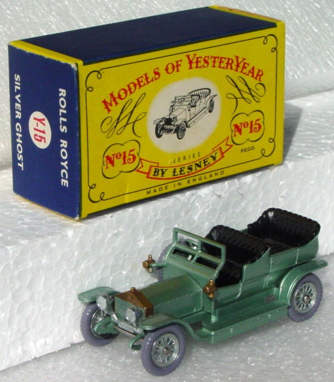 Models of YesterYears 15 A 1 - Rolls knobby grey plastic wheels silver rear license 1 chip C9 C box