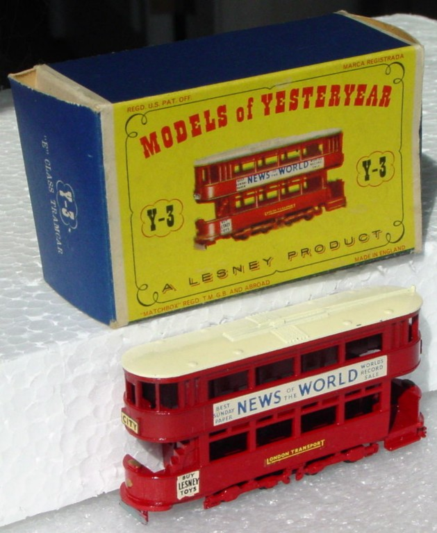 Models of YesterYears 03 A - Tramcar black plastic wheels cream roof three slight chips C9 D1 box