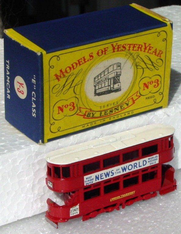 Models of YesterYears 03 A 4 - Tramcar black plastic wheels white roof one slight chip C9+ C box