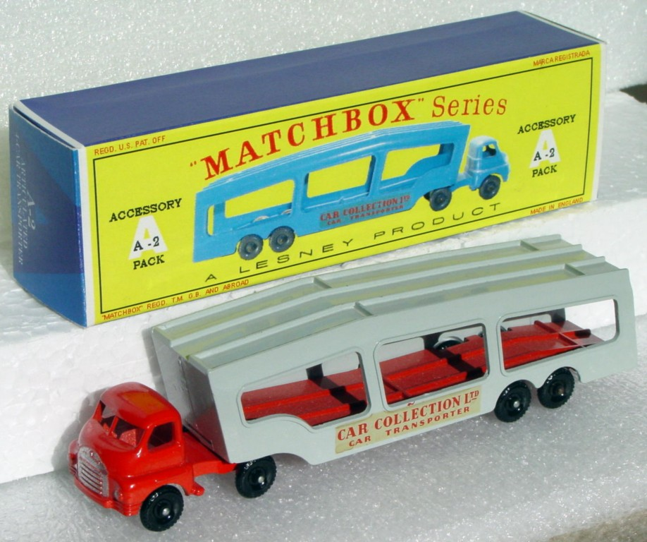 Matchbox 02 A 4 - Car Transporter RED/GREY!!! 3 chips REPRO BOX