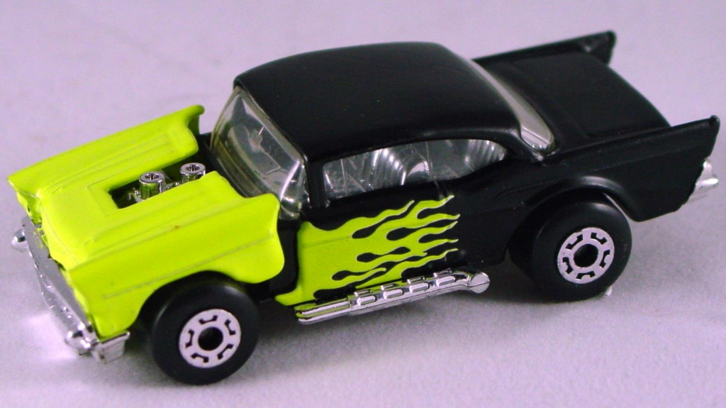 Pre-production 04 D 26 - 57 Chevy Black and yellow yellow flames made in Thailand