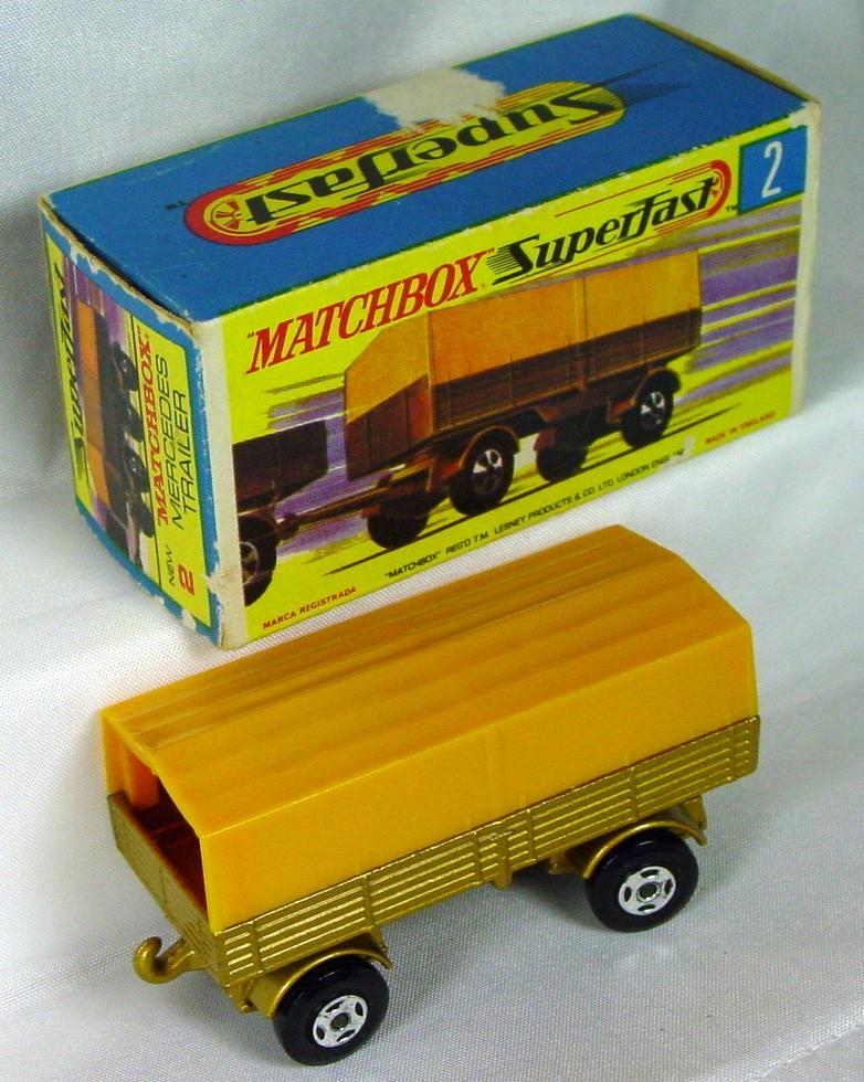 Lesney SuperFast 02 A 2 - Merc Trailer Gold/yellow 4-spoke C8.5 box