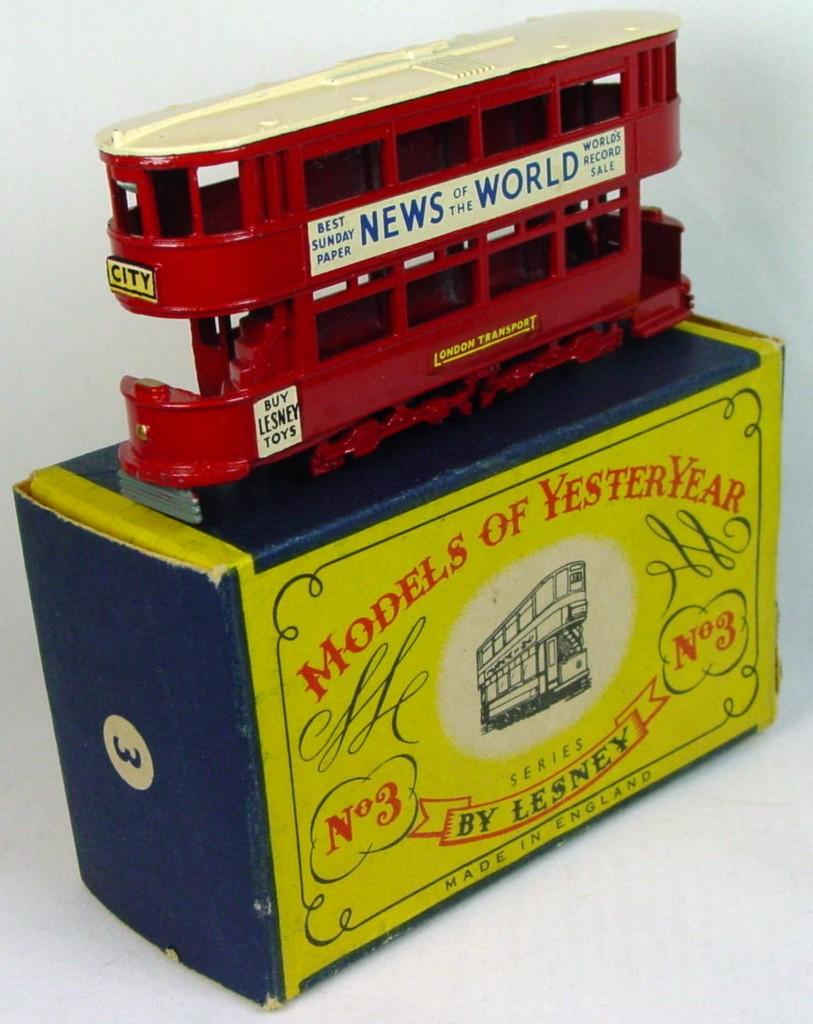 Models of YesterYears 03 A - Tramcar black plastic wheels cream roof C8.5 B box