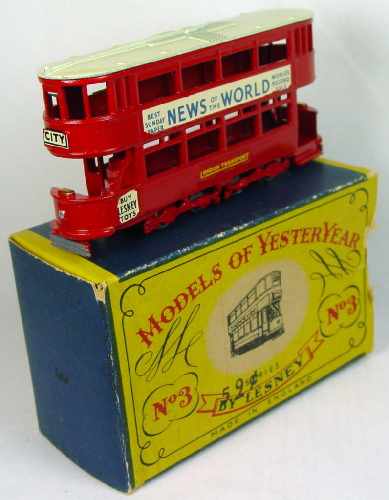 Models of YesterYears 03 A 2 - Tramcar metal wheels cream roof 1 bad decal C9 A1 no flaps 1 side