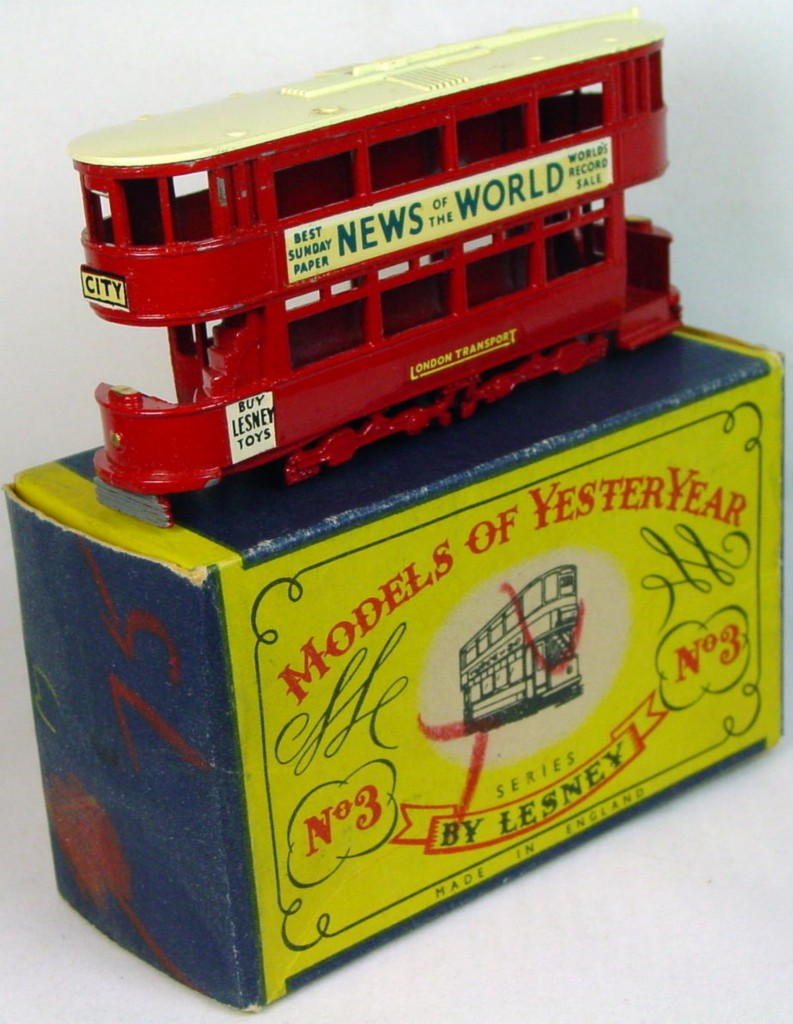 Models of YesterYears 03 A - Tramcar black plastic wheels cream roof (Very Near Mint) C9 A box