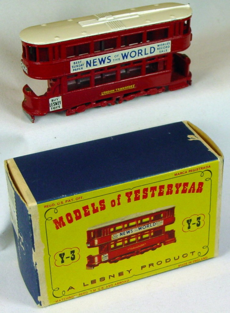 Models of YesterYears 03 A 4 - Tramcar black plastic wheels white roof three slight chips C9+ D1 box original price sticker