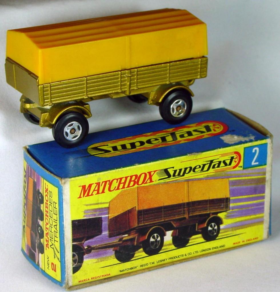 Lesney SuperFast 02 A 2 - Merc Trailer Gold/yellow 4-spoke C8.5 unglued G box
