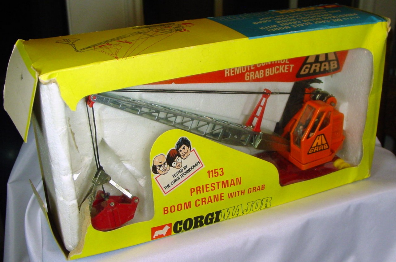 Corgi 1153 - Priestman Crane Truck Orange and red -treads C8 box -1 flap