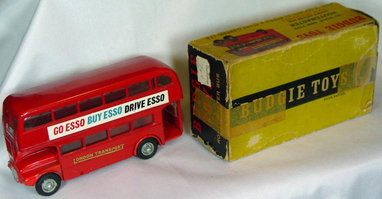 43 - BUDGIE 236 AEC Bus Red Go/Buy/Drive Esso one slight chip C7.5