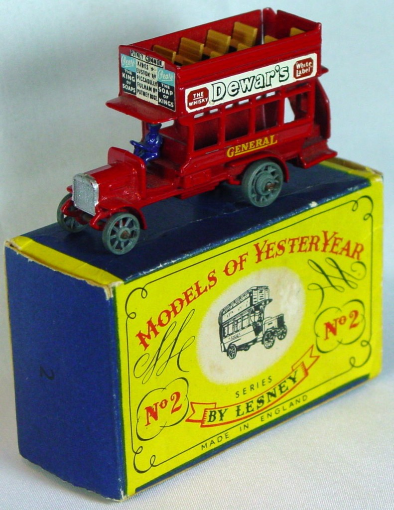 Models of YesterYears 02 A 2 - B Type Bus 4 OVER 4 blue driver (Very Near Mint) C8.5 A MILL2