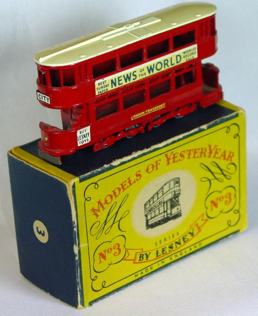 Models of YesterYears 03 A 2 - MW cream roof gold lts opendeck 2 chips C8.5 B MILL10
