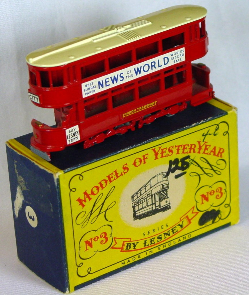 Models of YesterYears 03 A 2 - MW cream roof gold lts opendeck 3 chips C8.5 B MILL10
