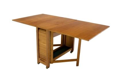 Mid Century Danish Modern Dining Folding Table w/ Folding ...