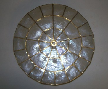 Rare Vintage Mother Of Pearl Ceiling Pull Light Shade Ebay