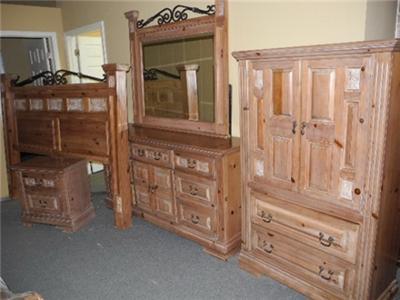 king size bedroom suite 4 pieces solid white pine wood super bargain ebay. Black Bedroom Furniture Sets. Home Design Ideas