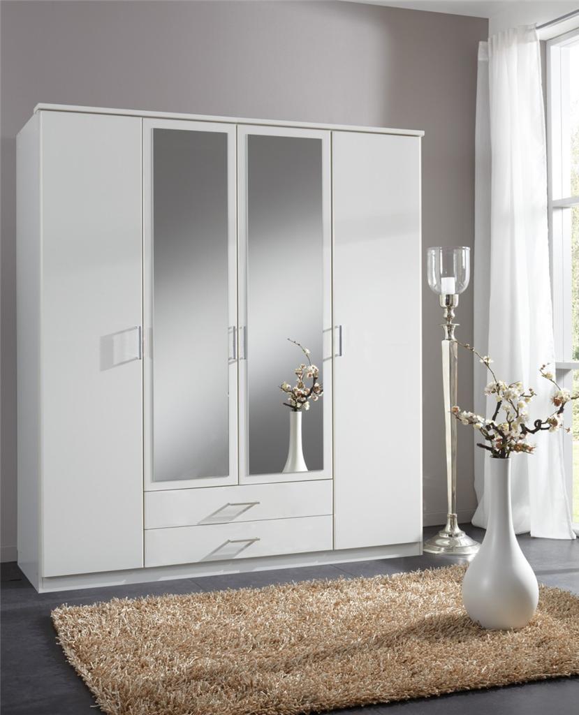 Roma Large 4 Door Matt White Wardrobe Cupboard Bedroom