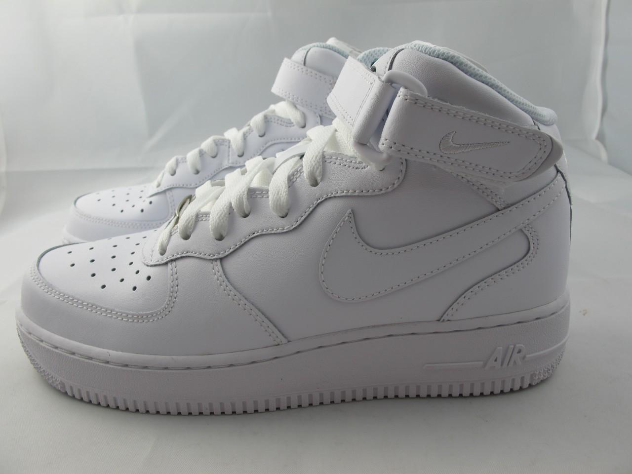 new juniors nike air force 1 mid 314195 113 white white ebay. Black Bedroom Furniture Sets. Home Design Ideas