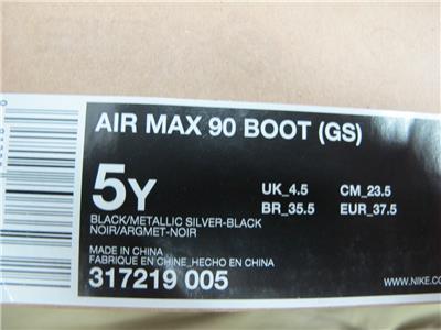 NEW JUNIORS NIKE AIR MAX 90 BOOT 317219 005 SIZE 5 (LAST