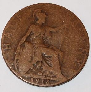 1916 U.K. GREAT BRITAIN 1/2 PENNY HALF Cent copper COIN   eBay