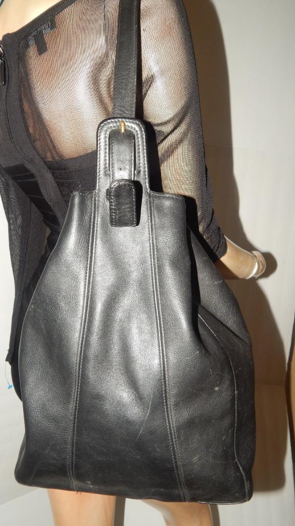 Coach Vintage Black Cowhide Leather Flatiron Sling Bag Purse Backpack 4179 Ebay