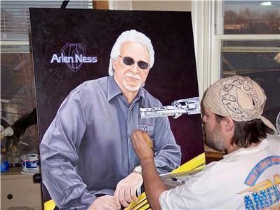 Artist John Guillemette working on Arlen Ness Portrait