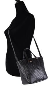 99a6896d5ef853 New Gucci Women's 449241 Black Leather Small Bree GG Guccissima ...