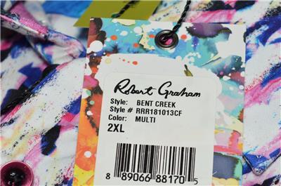 NEW Robert Graham $198 BENT CREEK Print Cotton Classic Fit Sports Shirt