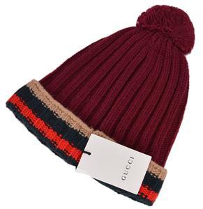 49f2cab4f5b NEW Gucci Men s 414274 Burgundy 100% Wool Striped Beanie Ski Hat