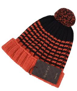 54f75e8ed88 NEW Gucci Men s 399568 100% Wool Orange Black Striped Beanie Ski Hat ...