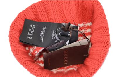 56d6f0329fb NEW Gucci Men s 399568 100% Wool Red Cream Striped Beanie Ski Hat S ...